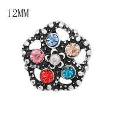 12MM Design Metall versilberter Druckknopf mit buntem Strass KS7135-S Charms Multicolor