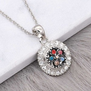 12MM design metal silver plated snap with colorful rhinestone KS7135-S charms Multicolor