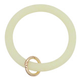 yellow shiny Silica gel Big ring bangle Key Ring Key Chain bracelet