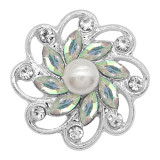 20MM flowers snap silver Plated with White rhinestone And pearls KC9256 charms snaps jewelry