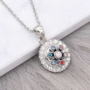 12MM design metal silver plated snap with colorful rhinestone KS7127-S charms Multicolor