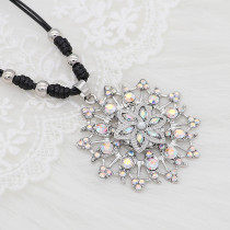 20MM flowers snap silver Plated with White rhinestone And pearls KC9260 charms snaps jewelry