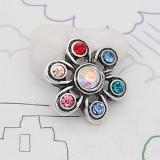 12MM Design Metall versilberter Druckknopf mit buntem Strass KS7127-S Charms Multicolor