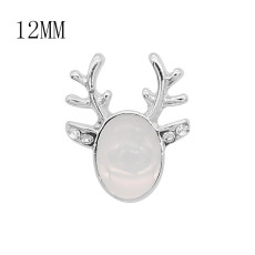 12MM Christmas design metal silver plated snap with White natural stone KS7140-S charms snaps jewelry