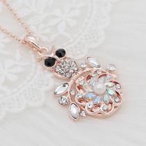 20MMの花はライトブルーのラインストーンと真珠でメッキされたローズゴールドをスナップしますKC9268チャームスナップジュエリー