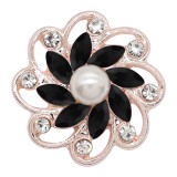 20MM flowers snap rose-gold plated with Black rhinestone And pearls KC9262 charms snaps jewelry
