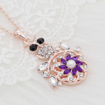 20MM flowers snap rose-gold plated with purple rhinestone And pearls KC9264 charms snaps jewelry