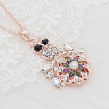 20MM flowers snap rose-gold plated with colorful  rhinestone And pearls KC9266 charms snaps jewelry