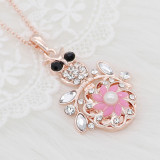 20MM flowers snap Rose rose-gold plated with Pink rhinestone And pearls KC9267 charms snaps jewelry