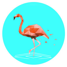 20MM Flamingo Lackiertes Email Metall C5933 Druck Cyan