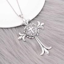 20MM croix métal rond en métal plaqué argent avec des charmes en strass blanc KC9271 s'enclenche les bijoux