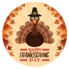 Día de Acción de Gracias 20MM turkeyt Metal esmaltado pintado C5931 print Naranja