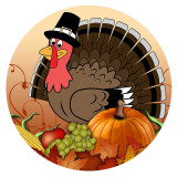 Día de Acción de Gracias 20MM turkeyt Metal esmaltado pintado C5930 print Marrón