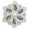 20MM flowers snap silver Plated with Opal green KC9272 charms snaps jewelry