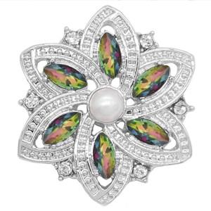 20MM fleurs bouton-pression plaqué argent avec des breloques KC9272 vert opale s'enclenchent bijoux