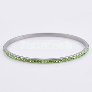 One row green rhinestone stainless steel bangle Bracelet