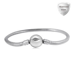 17CM Charm Bracelet Partnerbeads Pulseras de acero inoxidable con clip liso