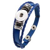 Botones 1 de cuero azul KC0284 con pequeños colgantes pulseras de nuevo tipo que se ajustan a los trozos de broches 20mm