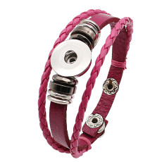 Les boutons 1 en cuir rose KC0285 avec de nouveaux bracelets pour petits pendentifs conviennent aux boutons 20mm