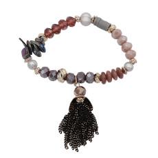 Bracelet élastique avec pampilles frangées à la main