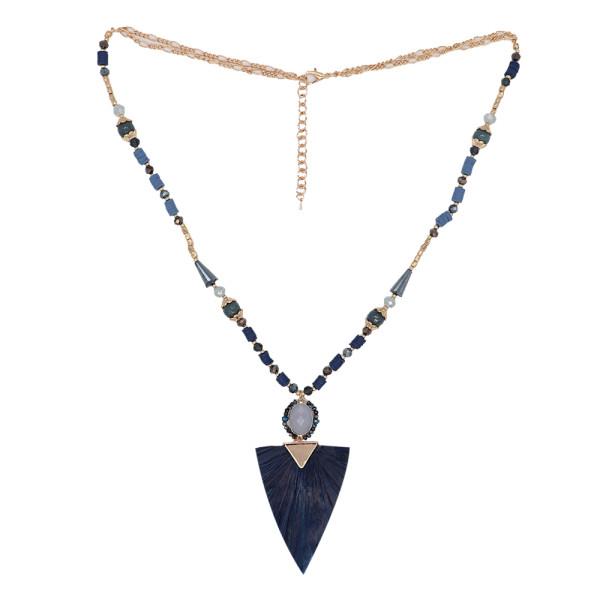 Collier à la mode 80cm long pompon perlé bijoux frangés bleu