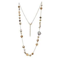 Long collier de perles de mode 80cm fait à la main perlé collier de coquilles naturelles