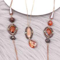 Collier de pierres précieuses à double pont de perles Fashion à la main 80CM