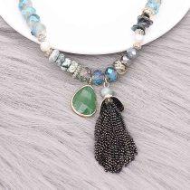 Collier gland frangé à la mode de bijoux de perles à la main de 46 cm