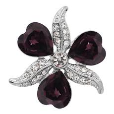 20MM chapado en plata chapada con diamantes de imitación púrpura en forma de corazón KC9277 encantos encajes joyería