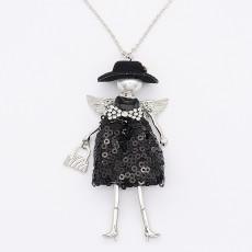 Collier en alliage de poupée fantaisie 68cm avec strass