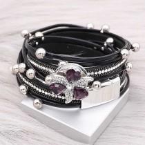 Boutons 1 Les bracelets KC0521 en cuir noir avec petit type de pendentifs conviennent pour 20mm