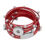 Botones 1 KC0520 de cuero rojo con pequeños colgantes pulseras de nuevo tipo que se ajustan a los trozos de broches 20mm