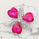 20MM snap silver Plated with Heart-shaped rose-red rhinestones KC9278 charms snaps jewelry