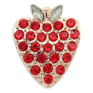 20MM design Strawberry gold metal  plated snap With red rhinestones KC9276 charms snaps jewelry
