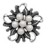 20MM pearl Silver metal plated snap With White pearl KC9279 charms snaps jewelry