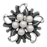 20MM perle mousqueton en métal argenté avec perle blanche KC9279 charms s'enclenche les bijoux