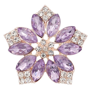 20MM flowers snap Gold Plated with purple rhinestone KC9282 charms snaps jewelry