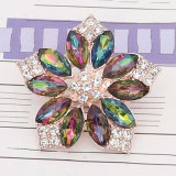 20MM flowers snap Gold Plated with rhinestone KC9280 charms multicolor