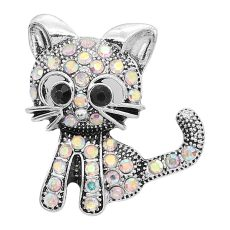 20MM design Cat metal silver plated snap with white rhinestone KC9293 charms snaps jewelry