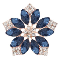 20MM flowers snap Gold Plated with Deep blue rhinestone KC9281 charms snaps jewelry