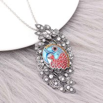 20MM Design Papagei Metall versilbert Snap mit rotem Emaille KC9296 Charms Snaps Schmuck