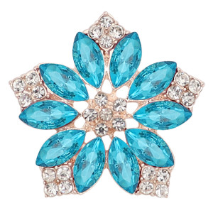 20MM flowers snap Gold Plated with Light blue rhinestone KC9283 charms snaps jewelry