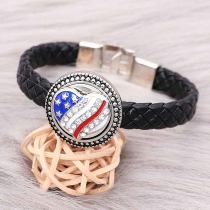 20MM Design Nationalflagge herzförmigen Metall versilbert Snap mit Strass Emaille KC9297 Charms Snaps Schmuck