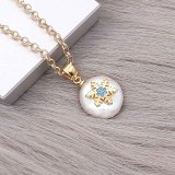 Natural pearl pendant comes with cute golden accessories002