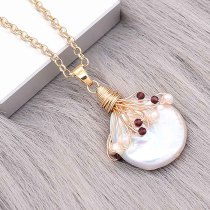 Natural pearl pendant comes with cute golden accessories006