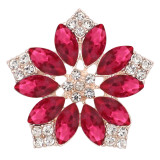 20MM flowers snap Gold Plated with  Rose rhinestone KC9288 charms snaps jewelry