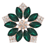 20MM flowers snap Gold Plated with  Dark green rhinestone KC9286 charms snaps jewelry
