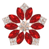 20MM flowers snap Gold Plated with  Red rhinestone KC9287 charms snaps jewelry