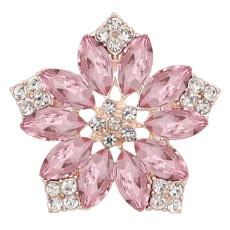 20MM Blumen Snap vergoldet mit Pink Strass KC9291 Charms Snaps Schmuck