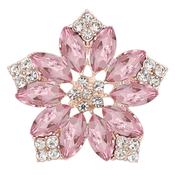 20MM flowers snap gold plated with  Pink rhinestone KC9291 charms snaps jewelry